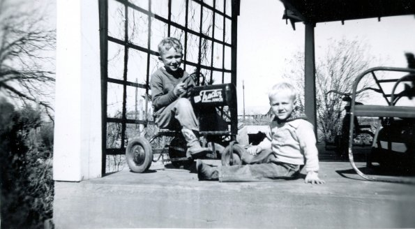 Scotty and Barton on porch late 40's