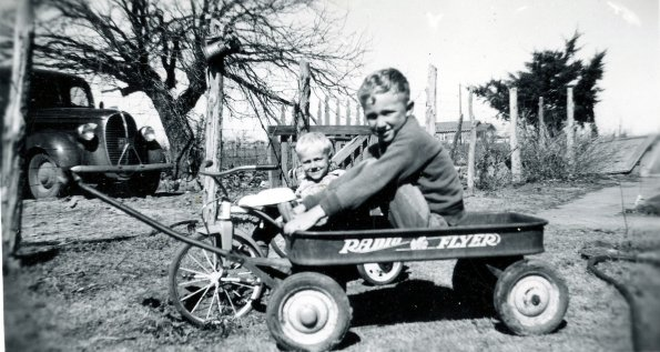 Scotty and Barton in wagon late 40's